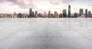 Empty floor with modern skyline and buildings at sunset in shanghai, china